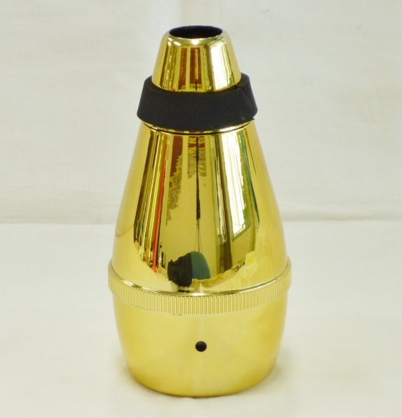 画像1: 祭りラッパ練習用弱音器・ゴールド (1)