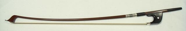 画像1: [ケース付]カーボン製コントラバス弓(金属部銀製・白毛)