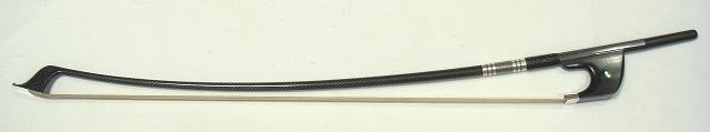 画像1: カーボン製コントラバス弓(金属部銀製・白毛)